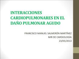 interacciones cardiopulmonares en el daño pulmonar agudo