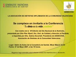 Rocío Royo Taberner Presidenta de la Asociación de Dietistas