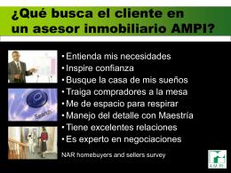 Qué busca el cliente en un asesor Inmobiliario AMPI