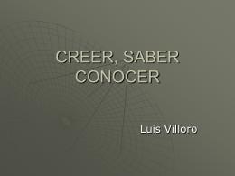 CREER, SABER CONOCER - Epistemología y Filosofía de la Ciencia
