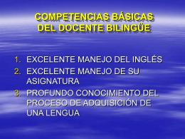 COMPETENCIAS DEL DOCENTE BILINGÜE