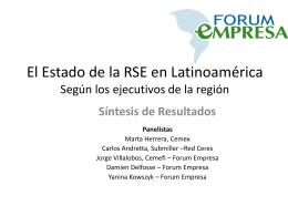 El Estado de la RSE en las Américas Según los ejecutivos de la