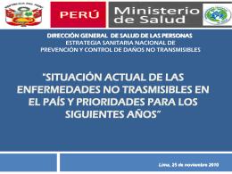 """""""Situación actual de las enfermedades no trasmisibles en el país y"""