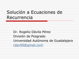 Relaciones de Recurrencia. - Página oficial del Doctor Rogelio