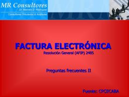 Factura Electronica - Preguntas CPCECABA