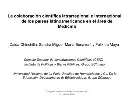 La colaboración científica intrarregional e internacional de - E-Lis