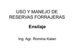 USO Y MANEJO DE RESERVAS FORRAJERAS