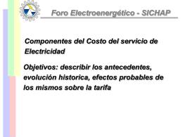 Componentes del Costo del servicio de Electricidad