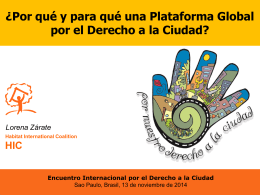 Derecho a la ciudad - Global Platform For The Right To The City