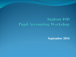 Pupil Accounting Workshop - Ingham Intermediate School District