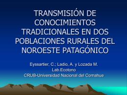 TRANSMISIÓN DE CONOCIMIENTOS TRADICIONALES EN DOS