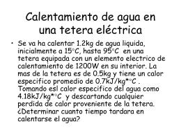 Calentamiento de agua en una tetera eléctrica