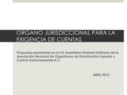organo jurisdiccional para la exigencia de cuentas