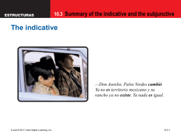 10.3 Summary of the indicative and the subjunctive