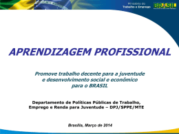 aprendizagem profissional - Ministério do Trabalho e Emprego
