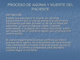 PROCESO DE AGONIA Y MUERTE DEL PACIENTE