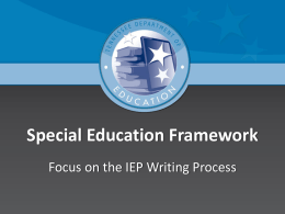 Writing an Instructionally Appropriate IEP