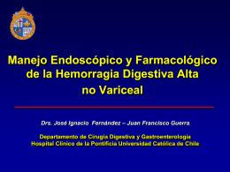Manejo Endoscopico de HDA no Variceal