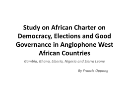 Study on African Union Charter on Democracy, Elections and Good