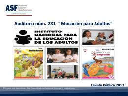 """Cuenta Pública 2013 Auditoría núm. 231 """"Educación para Adultos"""""""