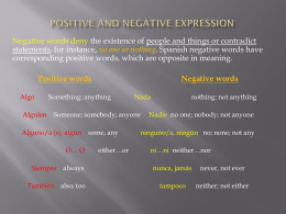 Positive and Negative Expression TP 240