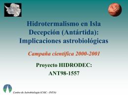 Hidrotermalismo en Isla Decepción (Antártida
