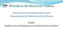 1. Descripción de bien - Ministerio de Educación Pública