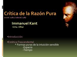 Crítica de la Razón Pura Immanuel Kant