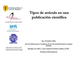 Tipos de artículos en una publicación científica