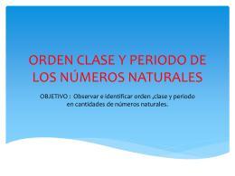 orden clase y periodo de los numeros naturales