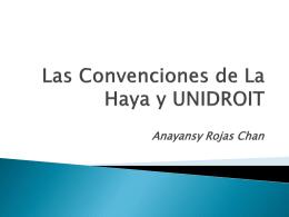 Las Convenciones de La Haya y UNIDROIT Anayansy Rojas Chan