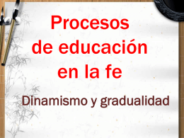 Procesos de educación en la fe