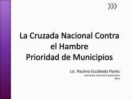 La Cruzada Nacional Contra el Hambre Prioridad de Municipios