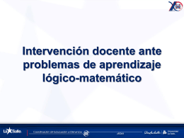 Intervención docente ante problemas de aprendizaje lógico