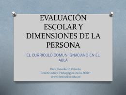 Evaluación escolar y dimensiones de la persona: El CCI en