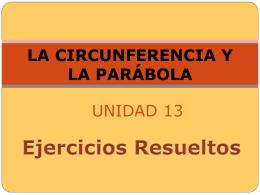 Presentación. Ejercicios resueltos. La Circunferencia y la Parábola.