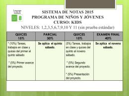 Porcentaje de notas programa de niños y jóvenes 2015.