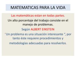 MATEMATICAS PARA LA VIDA - Escuela Colombiana de Ingeniería