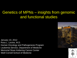 Genetics of MPNs – insights from genomic and functional studies