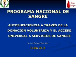 organización del programa nacional de sangre