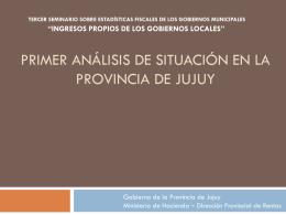 Primer análisis de situación en la Provincia de Jujuy
