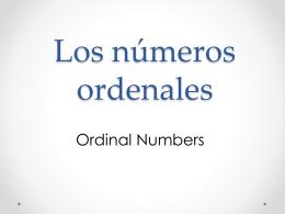 Los números ordenales