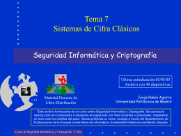 Sistemas de Cifra Clásicos. - Departamento de Computación