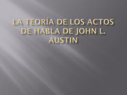 La teoría de los actos de habla de john l. austin