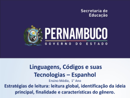 LÍNGUA ESPANHOLA, 1º Ano do Ensino Médio