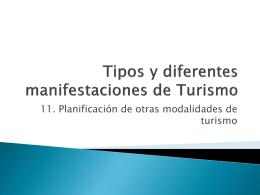 Planificación de otras modalidades de turismo
