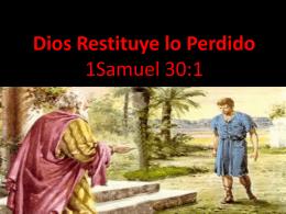 Dios Restituye lo Perdido