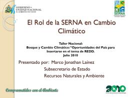 El Rol de la SERNA en Cambio Climático
