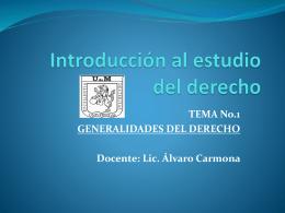 INTRODUCCION AL DERECHO Tema No.1