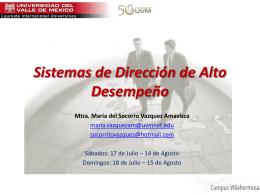 Sistemas de Dirección de Alto Desempeño - SDAD-UVM